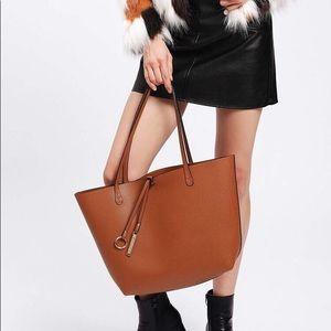 Oversized Vegan Leather Tote Bag